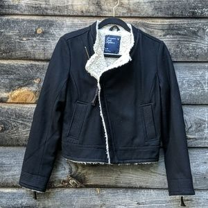 AEO Wool Moto Faux Fur Filled Jacket